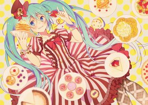 Rating: Safe Score: 91 Tags: aqua_hair blue_eyes dress food hat hatsune_miku twintails vocaloid wogura wristwear User: FormX