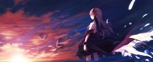 Rating: Safe Score: 108 Tags: animal bird blue_eyes bubbles clouds dress dualscreen long_hair pink_hair shadow2810 sky sunset User: humanpinka