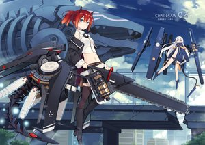 Rating: Safe Score: 26 Tags: 2girls bikini blue_eyes chainsaw clouds horns long_hair mechagirl navel original poco ponytail purple_eyes red_hair short_hair sky swimsuit sword thighhighs weapon white_hair User: SciFi