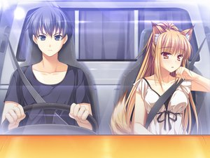 Rating: Safe Score: 93 Tags: animal_ears brown_hair car foxgirl game_cg long_hair male miyama_kon otomimi_infinity sagawa_yamato tail yasaka_minato User: Wiresetc