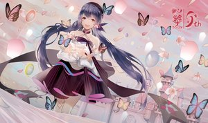 Rating: Safe Score: 26 Tags: aliasing building butterfly dress flowers hat long_hair purple_hair red_eyes tadatsu twintails vocaloid xin_hua User: BattlequeenYume