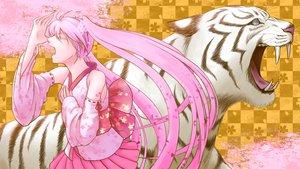 Rating: Safe Score: 38 Tags: animal cherry_blossoms flowers hatsune_miku pink_hair sakura_miku tiger twintails vocaloid User: BoobMaster
