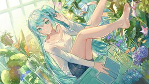 Rating: Safe Score: 15 Tags: animal aqua_eyes aqua_hair book fish flowers glasses hatsune_miku long_hair qie_(25832912) rose shorts twintails vocaloid User: RyuZU