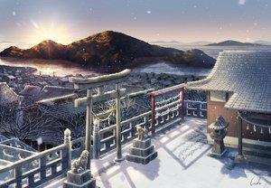 Rating: Safe Score: 70 Tags: building city inika landscape nobody original scenic shrine signed sky snow sunset torii water User: RyuZU