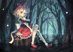 Rating: Safe Score: 183 Tags: blonde_hair blue_eyes bow doll dress forest medicine_melancholy orita_enpitsu ribbons short_hair socks su-san touhou tree water wings User: FormX