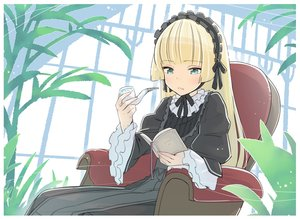 Rating: Safe Score: 39 Tags: blonde_hair book dress gosick goth-loli green_eyes headphones kawayabug lolita_fashion long_hair smoking victorique_de_broix User: otaku_emmy