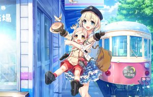 Rating: Safe Score: 103 Tags: 2girls animal bird blonde_hair blue_eyes building cura gloves hat hinai_paulette maitetsu reina_(maitetsu) scenic shorts skirt train translation_request uniform yellow_eyes User: luckyluna