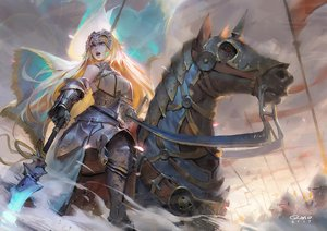 Rating: Safe Score: 93 Tags: animal armor blonde_hair blue_eyes fate/grand_order fate_(series) gloves headdress horse jeanne_d'arc_(fate) long_hair qmo_(chalsoma) signed spear weapon User: luckyluna