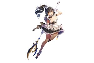 Rating: Safe Score: 51 Tags: ara_haan black_hair breasts cleavage dress elsword long_hair maid pantyhose photoshop ponytail staff sukja weapon white yellow_eyes User: luckyluna