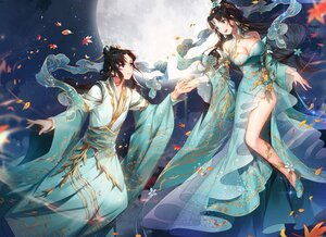 Rating: Safe Score: 56 Tags: applecaramel_(acaramel) black_hair blue_eyes breasts chinese_clothes cleavage clouds cropped leaves long_hair male moon night sky User: otaku_emmy