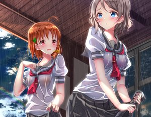 Rating: Safe Score: 70 Tags: aqua_eyes blush bra braids clouds cropped gray_hair love_live!_school_idol_project love_live!_sunshine!! orange_hair rain rainbow red_eyes school_uniform see_through short_hair skirt_lift sky swordsouls takami_chika underwear watanabe_you water wet User: luckyluna