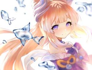 Rating: Safe Score: 42 Tags: animal blonde_hair bow close fish genshin_impact long_hair magic purple_eyes sangonomiya_kokomi suumao water User: BattlequeenYume
