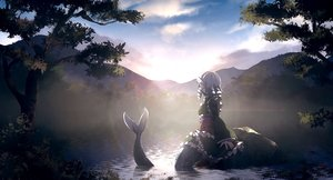 Rating: Safe Score: 46 Tags: clouds dise forest grass japanese_clothes landscape leaves mermaid scenic sky sunset tail touhou tree wakasagihime water User: mattiasc02