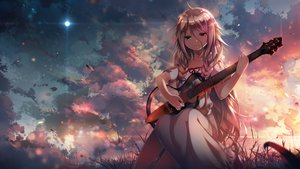 Rating: Safe Score: 142 Tags: blonde_hair braids c.c.r_(ccrgaoooo) clouds dress grass guitar ia instrument leaves long_hair moon sky sunset vocaloid User: luckyluna