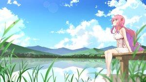 Rating: Safe Score: 83 Tags: barefoot blush clouds dress electriccross grass long_hair original pink_hair red_eyes sky summer_dress water User: otaku_emmy