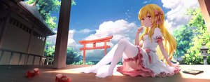 Rating: Safe Score: 74 Tags: blonde_hair building chen_bin clouds food keisenko_(touhou) loli long_hair red_eyes scan shade sky thighhighs torii touhou User: BattlequeenYume