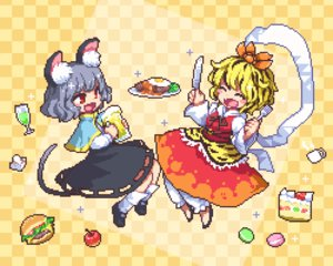 Rating: Safe Score: 13 Tags: animal_ears apple blonde_hair cake cropped dress drink fang food fruit gray_hair kumamoto_(bbtonhk2) mousegirl nazrin red_eyes shirt short_hair skirt socks strawberry tail toramaru_shou touhou waifu2x User: otaku_emmy