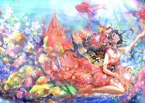 Rating: Safe Score: 192 Tags: animal black_hair fish flowers headdress japanese_clothes keepout long_hair original underwater water User: RyuZU
