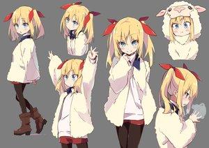 Rating: Safe Score: 51 Tags: amaryllis_class aqua_eyes blonde_hair boots hoodie kotohara_hinari loli long_hair pantyhose shorts tama_(tama-s) transparent twintails User: otaku_emmy