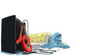 Rating: Safe Score: 66 Tags: guitar hatsune_miku instrument nagian parody twintails vocaloid white User: 秀悟