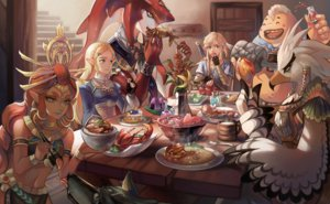 Rating: Safe Score: 61 Tags: animal apple bird blonde_hair braids cake dark_skin drink fish flowers food fruit gloves green_eyes group headdress link_(zelda) long_hair male navel pointed_ears princess_zelda red_hair riju sidon skirt sword syn_(kuponutt) teba the_legend_of_zelda weapon wolf wristwear yellow_eyes yunobo User: otaku_emmy