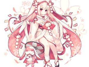 Rating: Safe Score: 19 Tags: bunny cherry_blossoms cropped flowers hoodie japanese_clothes loli long_hair miko original pink polychromatic red_eyes socks umbrella utm waifu2x white white_hair User: otaku_emmy