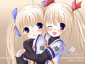 Rating: Safe Score: 9 Tags: blonde_hair blue_eyes blush clover_hearts mikoshiba_rea mikoshiba_rio school_uniform twins twintails wink User: Oyashiro-sama