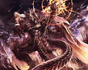 Rating: Safe Score: 218 Tags: armor clouds fire horns long_hair original pixiv_fantasia pointed_ears purple_eyes suzuya sword tail weapon white_hair wings User: opai