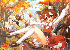 Rating: Safe Score: 93 Tags: animal animal_ears autumn bell blush bow brown_eyes brown_hair cat catgirl chen clouds hat im_(badmasa) kneehighs leaves short_hair sky tail touhou tree User: SciFi