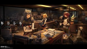 Rating: Safe Score: 117 Tags: animal animal_ears arknights black_hair blonde_hair computer drink exusiai_(arknights) gloves group huanxiang_heitu long_hair male orange_eyes paper penguin phone red_hair short_hair skirt sora_(arknights) texas_(arknights) the_emperor_(arknights) wings yith_(arknights) User: RyuZU