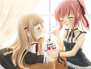 Rating: Safe Score: 102 Tags: 2girls blonde_hair blush cherry food fruit goth-loli ice_cream ifnil loli lolita_fashion long_hair red_hair ribbons short_hair strawberry User: gnarf1975