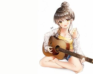 Rating: Safe Score: 67 Tags: breasts brown_hair cleavage guitar instrument music open_shirt original shirt shorts weri white yellow_eyes User: mattiasc02