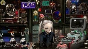 Rating: Safe Score: 47 Tags: aliasing brown_eyes bunny computer cropped doll gothic gray_hair long_hair naruwe original phone shirt twintails User: otaku_emmy