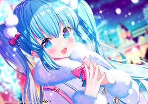Rating: Safe Score: 40 Tags: aqua_eyes aqua_hair blush bow close hatsune_miku ikari_(aor3507) long_hair night twintails vocaloid yuki_miku User: Maboroshi