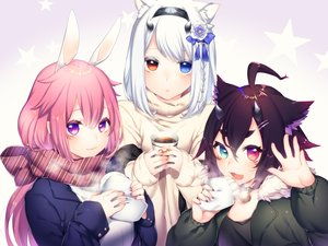 Rating: Safe Score: 33 Tags: animal_ears bell bicolored_eyes black_hair bunny_ears bunnygirl catgirl collar drink food gradient headband long_hair original phantasy_star_online phantasy_star_online_2 pink_hair purple_eyes scarf short_hair white_hair yutazou User: otaku_emmy