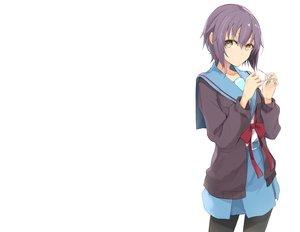 Rating: Safe Score: 91 Tags: blush brown_eyes glasses miruto_netsuki nagato_yuki pantyhose purple_hair ribbons school_uniform short_hair skirt suzumiya_haruhi_no_yuutsu third-party_edit white User: kokiriloz