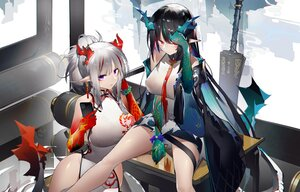 Rating: Safe Score: 52 Tags: 2girls arknights chinese_clothes chinese_dress dress dusk_(arknights) gray_hair horns long_hair nian_(arknights) phone pointed_ears ponytail red_eyes tail yushi_ketsalkoatl User: BattlequeenYume