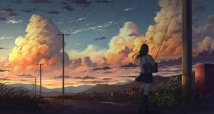 Rating: Safe Score: 231 Tags: clouds flowers kneehighs k_ryo landscape original scenic seifuku sunset User: BattlequeenYume