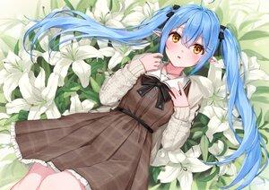 Rating: Safe Score: 76 Tags: aqua_hair blush bow dress flowers hololive kanoe_(tatsukanoe) leaves long_hair necklace pointed_ears twintails yellow_eyes yukihana_lamy User: otaku_emmy