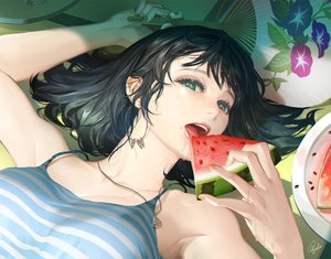 Rating: Safe Score: 76 Tags: black_hair close fan food fruit green_eyes necklace original short_hair signed summer tajima_yukie watermelon User: RyuZU
