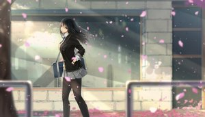 Rating: Safe Score: 72 Tags: black_eyes black_hair kikivi long_hair original pantyhose petals seifuku skirt User: RyuZU