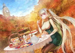 Rating: Safe Score: 38 Tags: anthropomorphism autumn azur_lane budda cake candy dress drink food formidable_(azur_lane) gray_hair long_hair pantyhose red_eyes twintails User: RyuZU