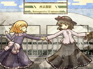 Rating: Safe Score: 38 Tags: 2girls akihiyo blonde_hair book brown_hair dress hat maribel_han short_hair skirt touhou train usami_renko User: Katsumi