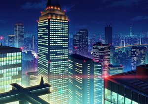 Rating: Safe Score: 59 Tags: animal building cat city clouds kami_(yoshipt0716) night original scenic sky User: RyuZU