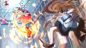 Rating: Safe Score: 31 Tags: blonde_hair dress fire flandre_scarlet hat kirisame_marisa long_hair magic red_eyes short_hair spear teraguchi touhou weapon wings witch yellow_eyes User: sadodere-chan