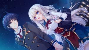Rating: Safe Score: 48 Tags: aqua_eyes black_hair bow brown_eyes clouds dress flowers game_cg gray_hair kimihara_yua kousaka_tsubame long_hair male mikagami_mamizu night pieces/wataridori_no_somnium school_uniform short_hair sky stars tie whirlpool User: mattiasc02