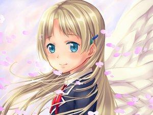 Rating: Safe Score: 44 Tags: arios_(orochi_yuta) blonde_hair blue_eyes chuunibyou_demo_koi_ga_shitai! dekomori_sanae long_hair petals wings User: mattiasc02