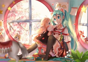 Rating: Safe Score: 92 Tags: blonde_hair cherry_blossoms dress food hatsune_miku ia kagamine_rin loli lu_(tabasa1991) thighhighs twintails vocaloid User: Maboroshi