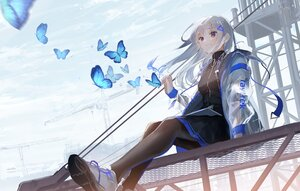 Rating: Safe Score: 70 Tags: butterfly clouds gray_hair long_hair original oyuyu pantyhose skirt sky User: BattlequeenYume