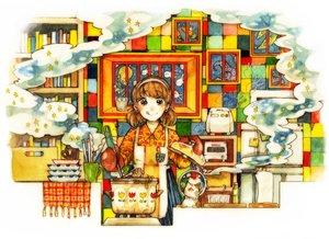 Rating: Safe Score: 22 Tags: animal blush book brown_eyes brown_hair cat food headband ichiko original short_hair twintails User: otaku_emmy